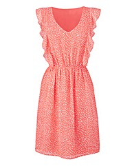 Frill Skater Dress - Coral Print