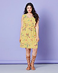 Frill Skater Dress - Yellow Print