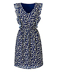 Frill Skater Dress - Navy Print