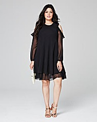 Black Frill Cold Shoulder Dress