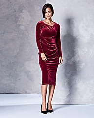 Velour Twist Front Dress