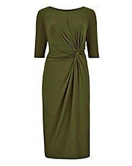 Mid-Olive Twist Knot Front Dress