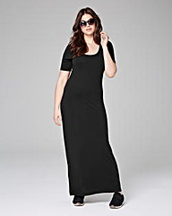 Black Jersey Maxi T-shirt Dress