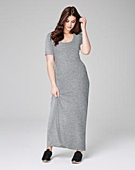 Grey Marl Jersey Maxi T-shirt Dress