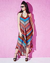 Halterneck Dipped-Hem Maxi Dress