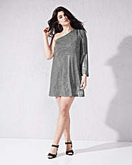 One Shoulder Metallic Dress