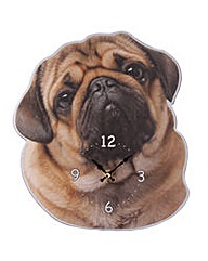 Decorative Wall Clock - Pug Shaped