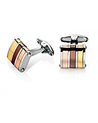 Gold, brown and rose gold cufflinks