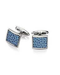BLUE LEATHER TEXTURED SQUARE CUFFLINKS