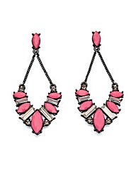 Pink Acrylic and Crystal Drop Earrings