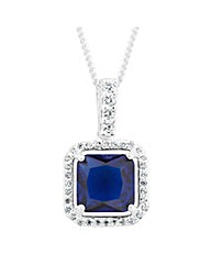 Simply Silver Blue halo pendant necklace