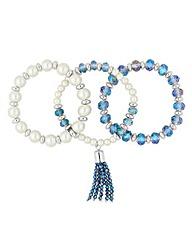 Jon Richard Pearl tassel bracelet set