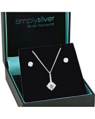 Simply Silver Stick pendant necklace set