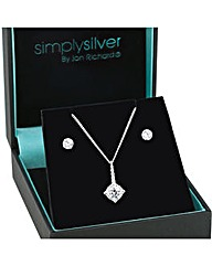 Simply Silver Stick pendant necklace set