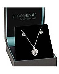 Simply Silver Tension heart necklace set