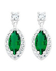 Simply Silver Green marquise earring