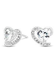Simply Silver Heart swirl stud earring