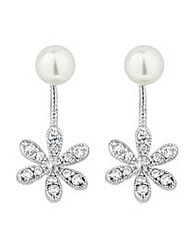 Jon Richard flower pearl drop earring