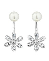 Jon Richard flower pearl drop earring