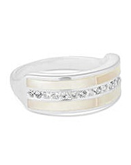 Simply Silver Mother of pearl band ring