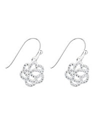 Simply Silver Pave flower drop earring