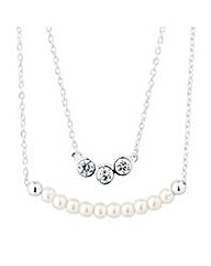 Simply Silver Double row pearl necklace