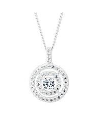 Simply Silver Double halo pendant