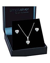 Simply Silver Aurora Borealis Heart Set