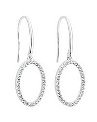 Simply Silver Pave oval drop earring