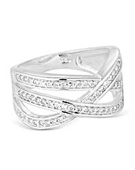 Simply Silver Pave criss cross ring