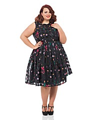 VOODOO VIXEN CHECK & FLORAL DRESS