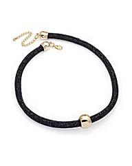 Black Bead Tube Ball Necklace