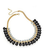 Shiny Gold Effect Jet Bead Necklace