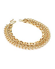 Gold Effect Three Row Chain Necklace