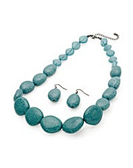 Turquoise Effect Necklace Set