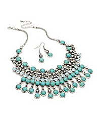Burnished Silver Turquoise Effect Set