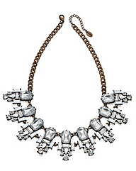Clear and white crystal cluster necklace