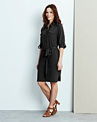 Button Sleeve Shirt Dress