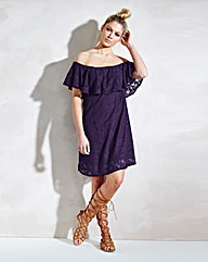 Off Shoulder Lace Frill Dress