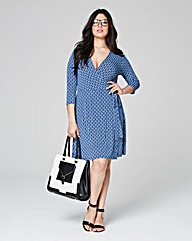 Geo Print Deep Plunge Wrap Dress
