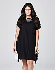 Black Side Fringe Dress