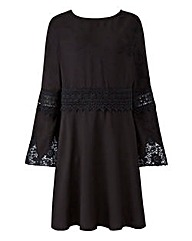 Bell Sleeve Lace Insert Dress