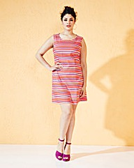 Multi Stripe Sleeveless Shift Dress