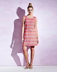 Multi Stripe Sleeveless Shift Dress