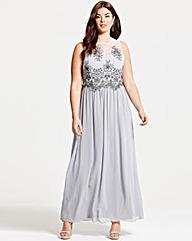 Little Mistress Grey Mesh Maxi Dress