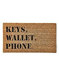 Keys Wallet Phone Coir Door Mat