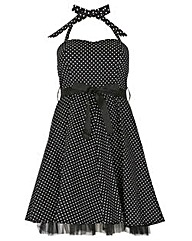 Samya Polka Print Belt Tube Dress