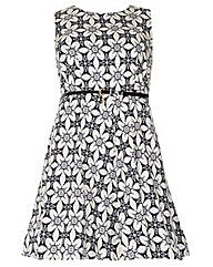 Samya Baroque Belted Skater Dress