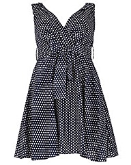 Samya Polka Dot Tie Waist Dress