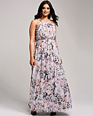Little Mistress Grey Print Maxi Dress
